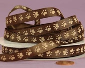 "3/8"" Grosgrain Ribbon Tan Paw on Brown Ribbon Paw Print"