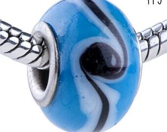 Lampwork Glass Bead - B B2a - Beautiful Blue Black and White Line Swirl
