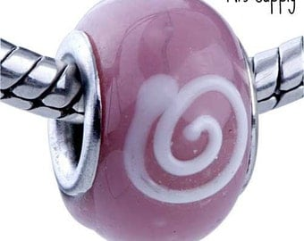 Lampwork Glass Bead - P B1 - Pink with White Circle Swirls