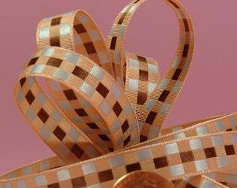 3/8 Checkered Ribbon - Brown