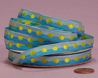 3/8 Polka Dot Ribbon - Sky and Turquoise with Apple Dots