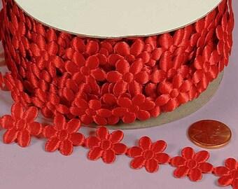 3/4 Flower Charm Ribbon - Red