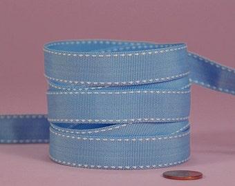 3/8 Side Stitch Ribbon - White on Sky Blue