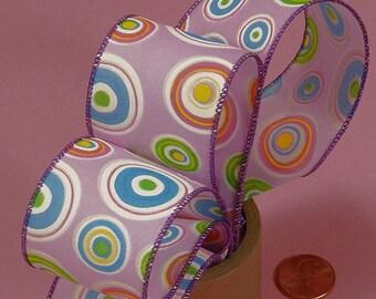 1.5 Circle Ribbon - Lavender with colorful polka dots