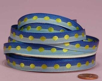 3/8 Polka Dot Ribbon - Blue with Apple Dots