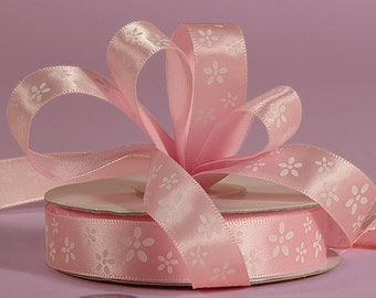 "5/8"" Satin Ribbon White Flowers on Pink Girls Party Wrapping Decorating Cards Shower Baby"