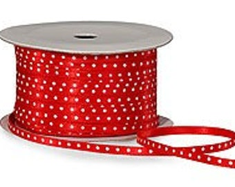 1/8 Red Satin Ribbon with White Dots