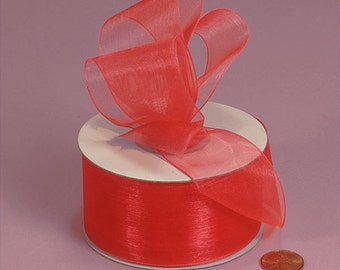 7/8 Sheer Ribbon - Coral