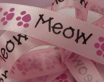 5/8 inch Kitty Paws Meow Pink Satin Ribbon Cats Purr Pet Animal