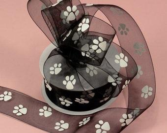 "5/8"" Black Sheer Organza Ribbon with White Paws Paw Print Ribbon"