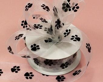 "5/8"" White Sheer Organza Ribbon with Black Paws Paw Print Ribbon"