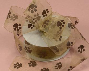 """5/8"""" Brown Sheer Organza Ribbon with Brown Paws Paw Print Ribbon"""