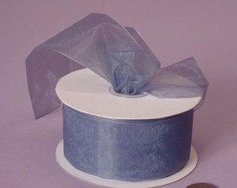 "7/8"" Sheer Ribbon - Smoke Blue"