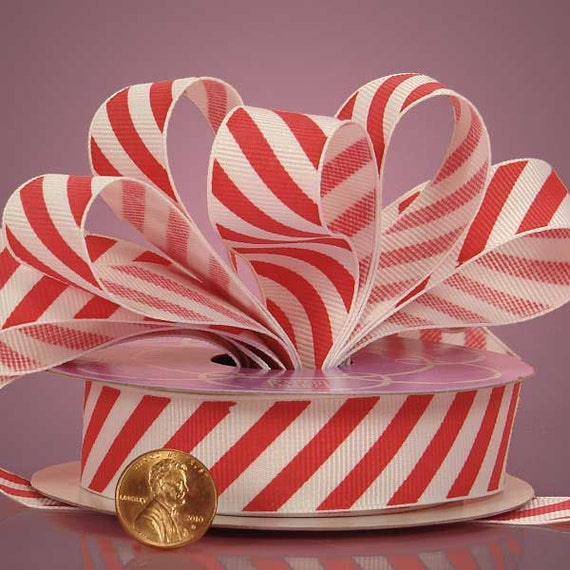7/8 inch Red and White Ribbon Valentines Day