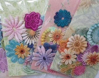 Flower Lace Trims - Hand Dyed Venise Crazy Quilt Embellishment Inspiration Kit