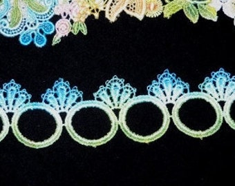 Turquoise Green Hand Dyed Venise Lace Trim