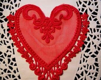 Red Lace Heart Venise Crazy Quilt Mixed Media Embellishment Scrapbook Applique