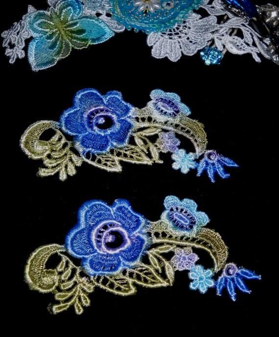 Royal Blue Venise Hand Dyed Lace Applique Motif Pair