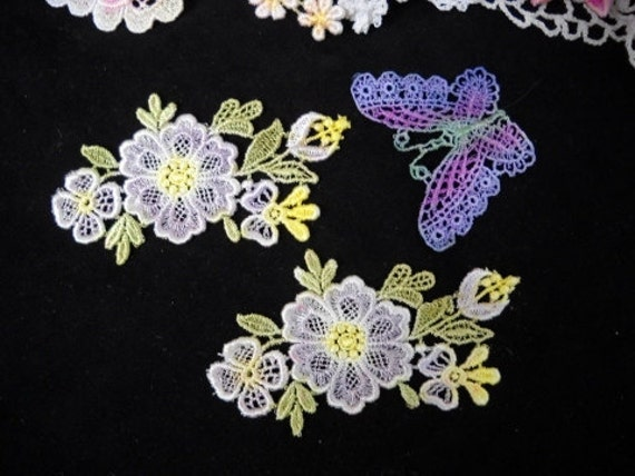 Lavender & Yellow Venise Lace Flowers Hand Dyed Applique 3-Pack
