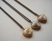Vintage Heart Locket with Handpainted Rose Trio - Bridesmaids Gift Set - Bulk Listing with Discount Necklace Set of 3