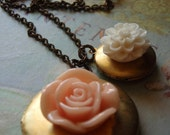 Peach and Cream Flower Lockets, Double Locket Necklace