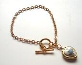 Heart Locket -Wear you Heart on you Wrist - Vintage Heat Locket Bracelet Great Valentines gift for her gift under 20