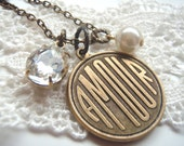 Amour Love Charm Necklace with Vintage Glass Jewel and Pearl