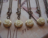 Reserved Listing for Brittany Bridesmaids Gift Set Locket with Cream Vintage Rose Bracelet Bulk Listing with Discount Bracelet