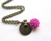 Amour Disc Charm Necklace, Flower Bow Necklace, Antique Chain, Bridesmaids Gifts