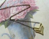 Chevron Necklace Geometric Triangle ,Graduation Jewelry, Summer Fashion, Military Fashion Jewelry