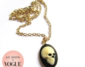 Skull Cameo Necklace - Small Skull Profile Cameo on Gold Chain Vintage Setting As Seen in Vogue