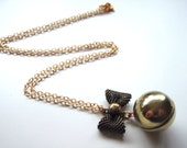 Classic Vintage Bow and  Ball Locket, Sphere, Orb Necklace, Gift for Mom, Sister, Best Friend, Bridesmaids Gifts