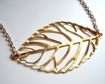 Leaf Necklace, Gold Leaf Necklace, Nature Jewellery, Gold Necklace, Layering Necklace
