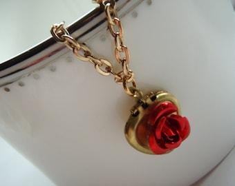 Heart Locket Bracelet, Charm Bracelet, Red Rose Locket, Vintage Style Bracelet, Gold Bracelet, Locket Bracelet, Valentines Day Gift