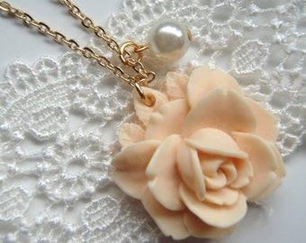 Romantic Rose and Pearl Necklace, Beautiful Bridal Jewelry, Bridesmaids Gifts, Gifts for her