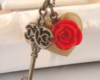Red Rose I Love You Heart Locket and Key Necklace, Romantic Gift for Her, Photo Locket