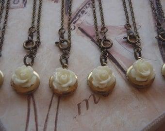 Cream Rose Locket, Small Round Locket Necklace, Locket Necklace, Bridesmaids Gift Sets, Set of 6, Flower Girl Gift