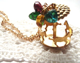 Carousel Necklace Horse Merry Go Round Perfect gift for daughter, sister,flower girl gifts,bridesmaids gifts