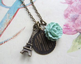 French Vintage Charms Necklace,Mint Green Rose, Eiffel Tower, Parisian Chic, Vintage Style Wedding, Bridesmaids Gifts