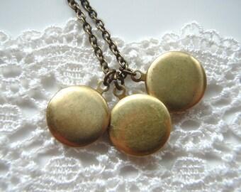 Trio - Sweet Little Locket Trio Necklace - Three Vintage Lockets