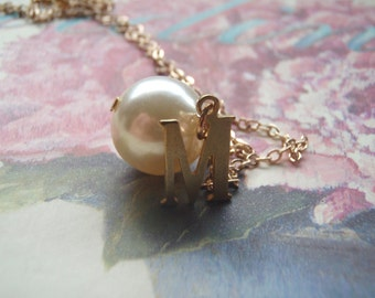 Personalised Pearl and Initial Necklace Bridesmaids Gifts, Gifts for Her