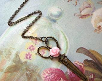 Scissor Necklace with Pink Rose Bronzed Scissor Charm Necklace Seamstress Hairdresser Gift