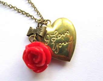 I Love You Heart Locket Necklace, Valentines Day Gift, Red Rose Gift, Bridesmaids Gift, vintage style necklace