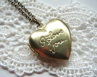 I Love You Vintage Heart Locket Necklace.Bridesmaid Gifts.Sister, Simple Necklace