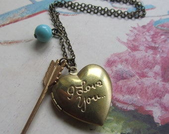 I Love You Heart Locket, Valentines Day Gift for Her