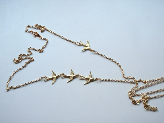 Chasing Swallows Long Elegant Vintage Swallow Charm Necklace Statement Piece