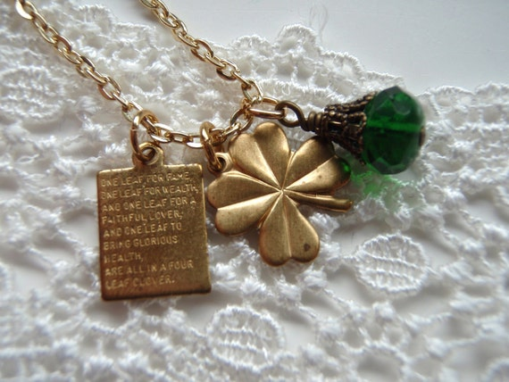 Lucky Charms Necklace, Four Leaf Clover Vintage Bead,gift for sister,