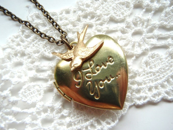 I Love You Vintage Heart Locket.Swallow. Gift for her gift under 30