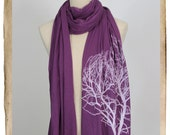 Screenpinted Long Jersey Scarf - TREE, Purple