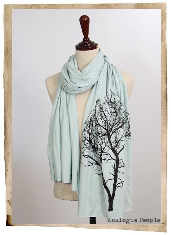 Screen Printed Jersey Long Scarf - Tree, Mint